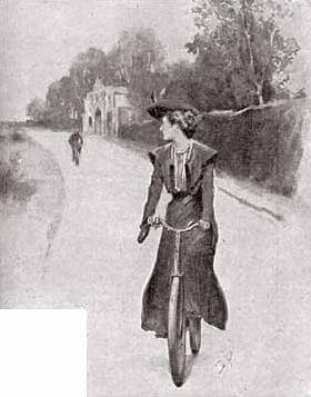 An illustration for the story The Adventure of the Solitary Cyclist by the author Sir Arthur Conan Doyle