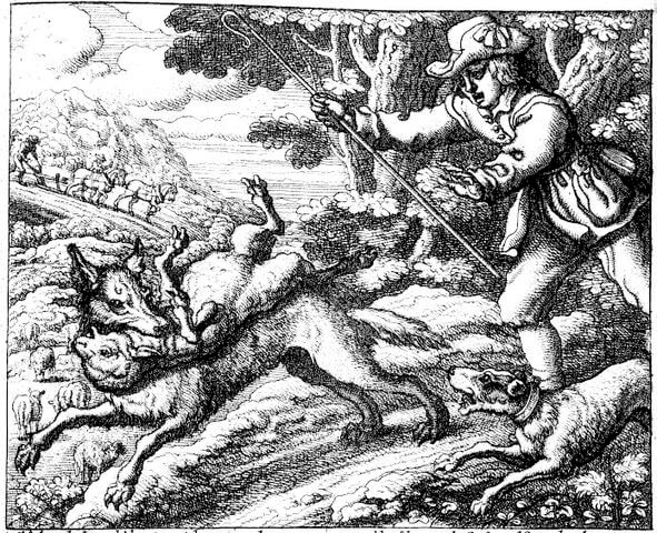 An illustration for the story The Shepherd and the Wolf by the author Aesop