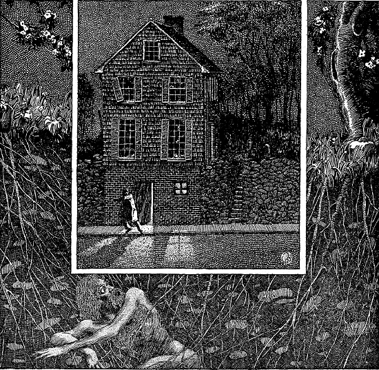 An illustration for the story The Shunned House by the author H. P. Lovecraft