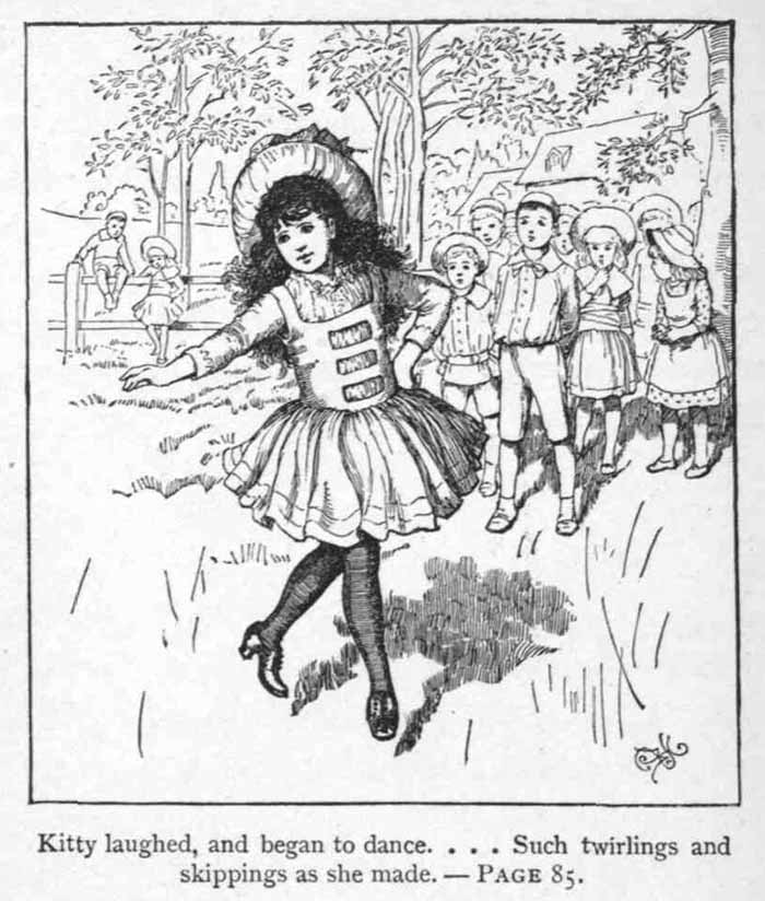 An illustration for the story The Skipping Shoes by the author Louisa May Alcott