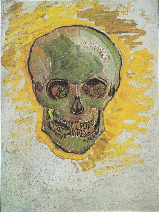 An illustration for the story The Skull  by the author Philip K. Dick