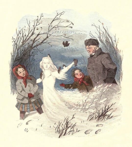 An illustration for the story The Snow Image: A Childish Miracle by the author Nathaniel Hawthorne
