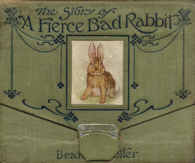 An illustration for the story The Story of A Fierce Bad Rabbit  by the author Beatrix Potter