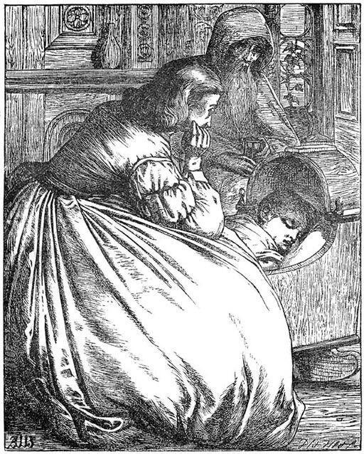 An illustration for the story The Story Of A Mother by the author Hans Christian Andersen