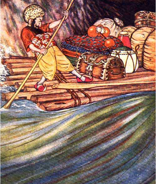 An illustration for the story The Story of Sindbad the Sailor by the author Arabian Nights