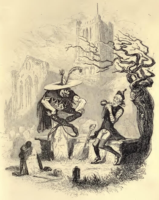 An illustration for the story The Story of the Goblins Who Stole a Sexton by the author Charles Dickens