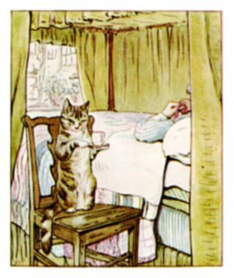 An illustration for the story The Tailor of Gloucester by the author Beatrix Potter