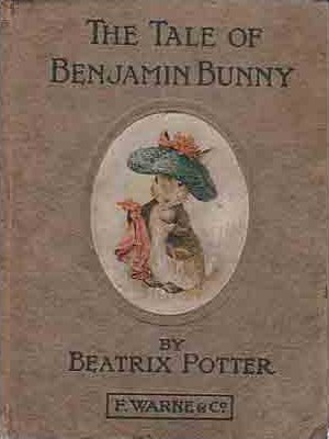 An illustration for the story The Tale of Benjamin Bunny by the author Beatrix Potter