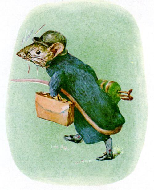 An illustration for the story The Tale of Johnny Town-Mouse by the author Beatrix Potter