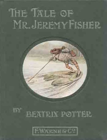 An illustration for the story The Tale of Mr. Jeremy Fisher by the author Beatrix Potter