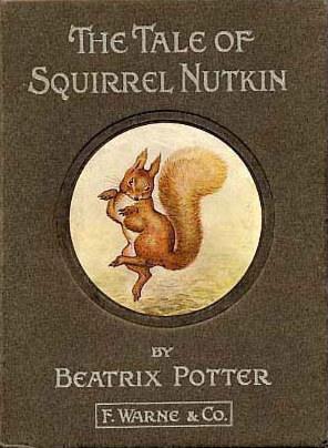 An illustration for the story The Tale of Squirrel Nutkin  by the author Beatrix Potter