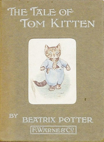 An illustration for the story The Tale of Tom Kitten  by the author Beatrix Potter