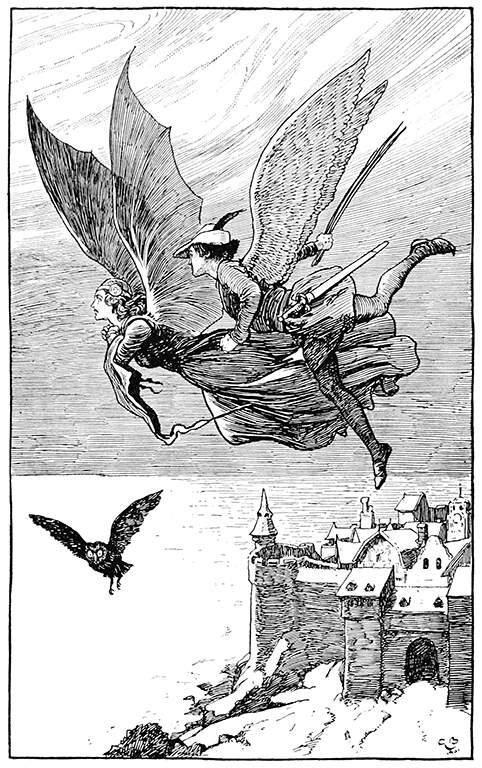 An illustration for the story The Travelling Companion by the author Hans Christian Andersen