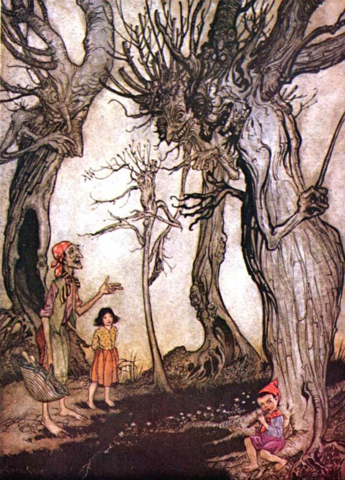 An illustration for the story The Trees and the Axe by the author Aesop
