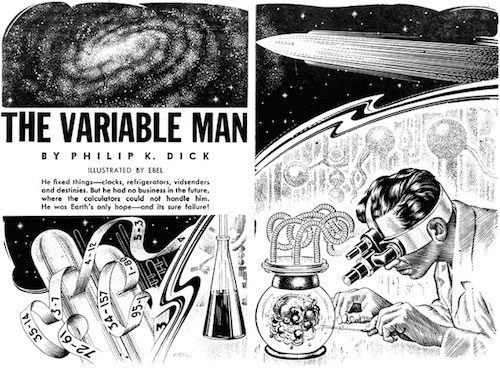An illustration for the story The Variable Man  by the author Philip K. Dick