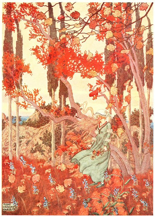 An illustration for the story The Wind's Tale by the author Hans Christian Andersen