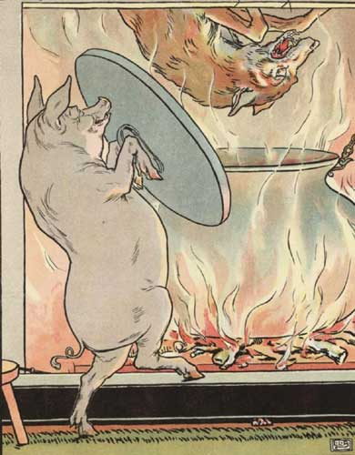Three Little Pigs wolf into pot