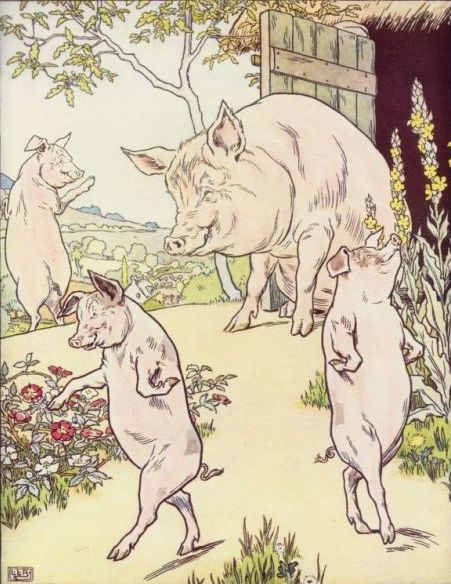 An illustration for the story The Three Little Pigs by the author