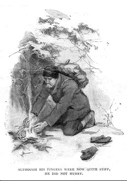 An illustration for the story To Build a Fire by the author Jack London