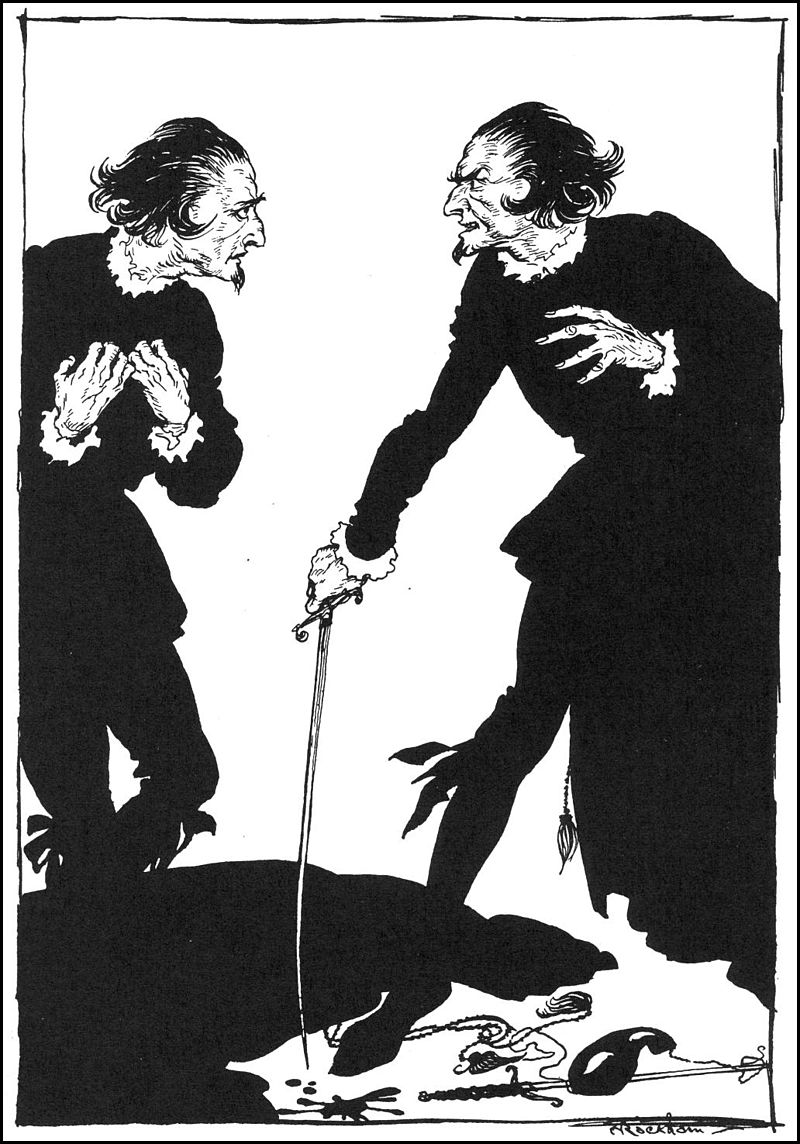 An illustration for the story William Wilson by the author Edgar Allan Poe