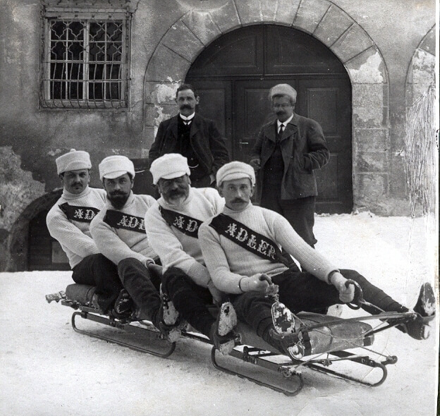 Winter Sport, sledding in Davos 1910