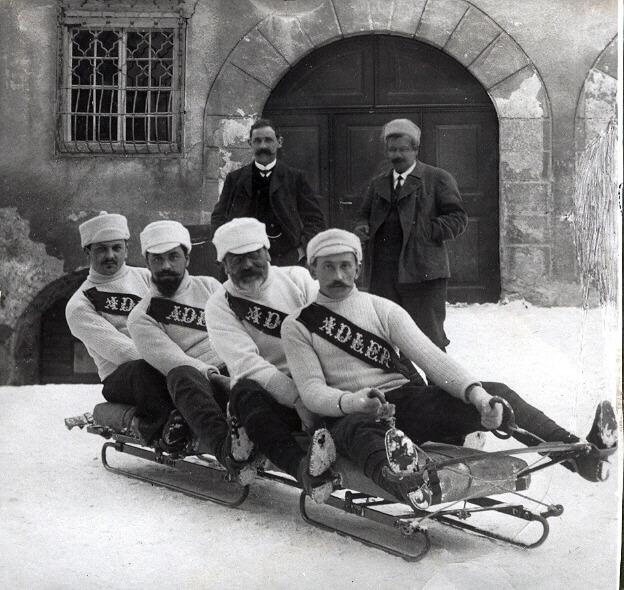Winter Sport, sledding in Davos 1910
