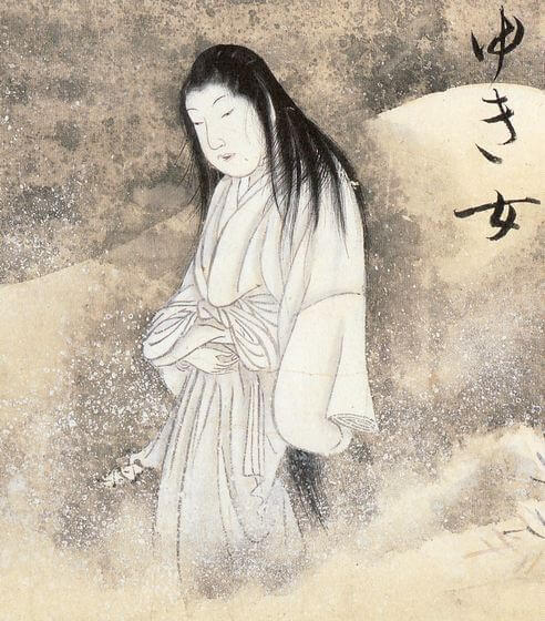 An illustration for the story Yuki-Onna by the author Lafcadio Hearn
